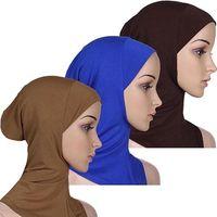 Wholesale Soft Muslim Full Cover Inner Hijab Cap Islamic Underscarf Neck Head Bonnet Hat X82