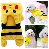 Wholesale Poke Dog Clothes Pikachu Hoodie Poke Go Dog Plush Coat Jumper Outwear Dog Costume Pikachu Fancy Outfit Winter Dog Clothes KKA705