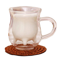 bare cups - milk cup ml galss Double Layer Cup with handle transparent round bottle drink ware kitchen bare tools Z