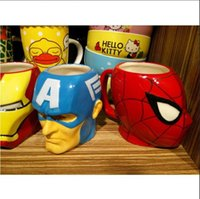 Wholesale The Avengers Character Porcelain Tea Cup Fashion Design Captain America Spider Man Hulk Raytheon Iron Man Pattern Cartoon Coffe Mug Home