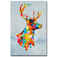 Wholesale Christmas Oil Pictures - Large size cheap christmas deer pictures abstract animal oil painting hand made decorative holiday indoor decoration