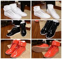 2016 Nuevas zapatillas de deporte de Maison Martin Margiela del estilo La alta calidad de cuero de charol de la alta calidad calza la marca de fábrica de lujo de los hombres calza las zapatillas de deporte Eur 38-46