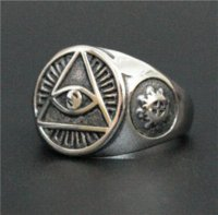 band saw - Size Cool Eye Lucky Ring L Stainless Steel Top Quality Biker Fantastic Mens All See Eyes Ring