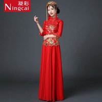 Wholesale Long sleeve Chinese style wedding full shine beautiful women s dress for special occasion weding party charming dress