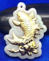 al por mayor jadeíta de jade colgante de joyería de oro-WholesaleFish gran salpicadura estilo colgante de jade de oro de grado A jadeíta esmeraldas naturales jade joyas de moda medallones encantos