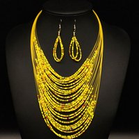 bead woven earrings - European fashion style of Bohemia weaving multilayer beads necklace earrings set fashion jewelry discount chain set