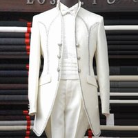 achat en gros de blanc ceinture de smoking-White Man Costumes Shawl Lapel Three Button Bow Tie Groomsman Tuxedos Hommes Costumes de mariage Beautiful (Jacket + Pants + Belt + BowTie)