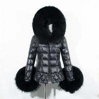 Wholesale 2016 Winter Women Black Down Jacket Coat Raccoon Fur Trim Hood Long Sleeve Warm Parka Coats Fashion Checked Quilted Slim Overcoats