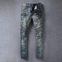 Wholesale High quality men s jeans Casual straight hole jeans men balmai jeans men denim trousers biker jeans