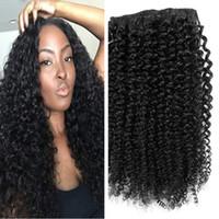 Mongolia Clip Afro rizado rizado de la extensión del pelo humano 8A cabeza completa pinza de pelo de Mongolia sobre Extensión Negro Mujeres Fedex DHL libre