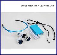 Cheap BLUE Color Dental Loupes Surgical Medical Binocular 3.5X 420mm LED Head Light Lamp CE FDA