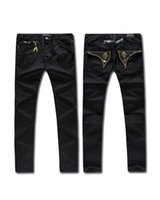 Wholesale 2016 Famous Brand Mens Robins Jeans Gold Zipper Fly EMBELLISHED JEANS Straight Denim Black Cowboy Fashion Brand Slim Designer Mens Pants