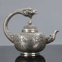 antique metal teapots - Old Chinese Tibet Silver Handwork Dragon Handle Teapot W Qianlong Mark C575