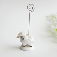 baby card messages - Cute baby sheep place card holder Lovely resin message note clip Birthday and wedding party decoration favors