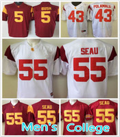 anti trojan - cheap USC Trojans Reggie Bush Troy Polamalum Junior Seau NCAA College Football Jerseys Embroidery Name and Logos red white