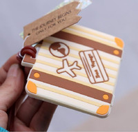 Wholesale 100pcs Plane Card quot Let the Journey Begin quot Vintage Suitcase Luggage Tag Wedding Bridal Shower Favor Party Gifts ZA0965