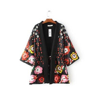 Wholesale 2016 New Arrival Women Loose Outwear Long Sleeve Printing Lady Jacket Shawl Flower Printing Coat Size S M L EK0562