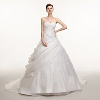 Wholesale 001 white ivory charming new hot selling top fashion Ball gown Organza sweetheart wedding dress in stock size to16 USA