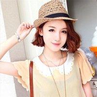 Wholesale Hot Seller Women s Lady s Trilby Fedora Straw Hats Wide Brim Caps Sunshade Tan With Black Headband Breathable Summer GA462 Free Sh