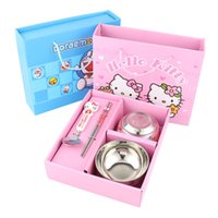 Wholesale Hello Kitty Vigny Doraemon bear tableware set Cartoon children burn proof stainless steel tableware spoon set bowl ZD066A