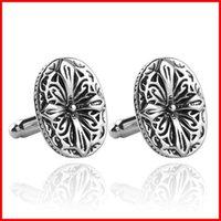 Wholesale Ancient Silver Flower Cufflink Cuff Links Collar Button for women men Dress suit Cufflinks Jewelry Best Friend Christmas gift