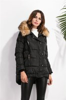 Wholesale New Winter Coats Women Jackets with Large Fur Collar Thick Cotton Padded Lining Ladies Down Outwear Clothing Plus Size