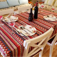 Wholesale whole Mediterranean Style Table Cloth Square Linens Tablecloths Cotton Printed Dining Table Cloth For Wedding Home Hotel Picnic Outdoor