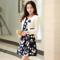 Wholesale Spring women s new Korean Slim aristocratic temperament long section of two piece dress leisure suit tide