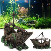 Wholesale Fish Tank Decoration Cave Sailing Boat Shipwreck Aquarium Sunk Antique Ship