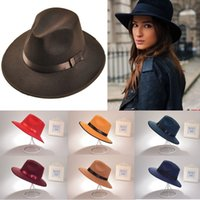 Wholesale Vintage Women Men Wide Brim Wool Felt Hat Floppy Bowler Cloc