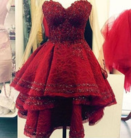 Wholesale Real Photo Red Prom Dresses Hi Lo Cocktail Dresses Lace Sequins Party Dress Sweetheart Major Beading Elegant