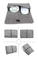 adapt casings - For macbook ipad Laptop New Mouse Charger USB Cable Bag digtal storage bag wool felt bag pouch adapt mouse case and Power Bag