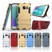 armor men - 2in1 Armor Iron Man Case For SAMSUNG S7 edge S6 S5 Note5 TPU PC Heavy Duty Hybrid Hard Stand Phone Cover Shockproof Defender Shell Protector