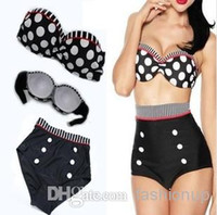 Wholesale Hot Retro Push up Padded High Waist Bikini Set Swimsuit With Black White Polka Dot Vintage Bathing Suit Pin up Straps Swimwear AMY02