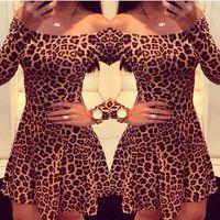 Wholesale 2016 New Novelty Women Summer Dress Leopard Print Strapless Dress Women Casual Dress Fashion Sexy Club Wear Skater Vestidos