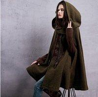 Wholesale Women s Winter New Vintage Warm Woolen Hoodie Cloak Coat Embroidered Drop Shoulder Sleeve Wool Cape Outerwear