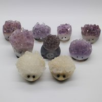 amethyst sculpture - Natural white crystal nunatak amethyst ore tortoise sculpture hedgehogs decoration purification