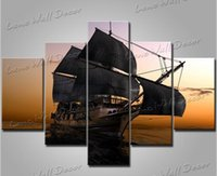 ancient ship pictures - 5 pieces oil painting the ancient ship home decor wall sticker pictures for living room canvas prints