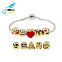 Wholesale 5 Beads New fashion jewelry New designed emoji charms bracelet gold plated metal beads emoji bracelet