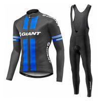 Wholesale Giant Cycling Jerseys Set Black Blue Long Sleeve Bib None Bib Set Sports Wear Autumn None Fleece Cycling Skinsuit Size XS XL
