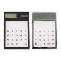 Wholesale Mini Calculator Ultra Slim Solar Power Touch Screen LCD Digit Credit Card Electronic Transparent Calculator Black White Blue
