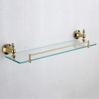 antique glass bathroom shelf - Golden Single Glass Shelves Antique Stainless Steel and Copper Rectangle Floating Bathroom Shelf Inches