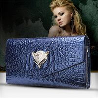 Wholesale Hot style in Europe evening Bags and the fox head cow leather crocodile grain It s