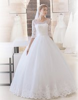 Wholesale Custom Made Ball Gown Tulle Wedding Dress Scoop Half Sleeves Bridal Dresses Applique Robe de Marriage Wedding Gowns