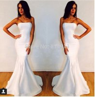 apple store size - White Party Dresses Strapless Mermaid Long Prom Gowns White Satin Cheap Online Store Special Occasions Dress