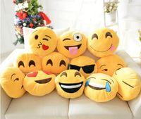 Wholesale Emoji Pillows skins styles diameter cm All styles CE Cushion Cute Yellow Plush Gifts