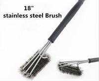 Wholesale New cm Stainless Black Grill Brush Heavy Duty Barbecue Grill Cleaner Brushes in Head Plastic handle Steel Wire