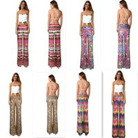 bell bottom pattern - Hot Sexy Women Digital printing culottes long section pants was thin bell bottoms Classic Quilted pattern wide leg pants yoga pants