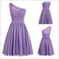 Wholesale Fashion Purple Short Cocktail Dresses Lace One Shoulder Chiffon Sweet Evening Party Dress Formal Women Special Occasion Dresses Kleider