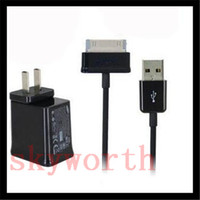 ac power cord lot - AC US EU Home Wall Charger Adapter USB Data Cable Cord for SAMSUNG GALAXY TAB P1000 Tab S S2 A TABLET PC